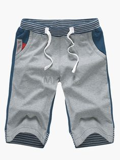 Words Print Drawstring Waist Cotton Shorts - Milanoo.com