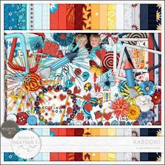 Kaboom! by Heather T. is a super-fun kit exploding with color and fireworks (20% off @ MScraps through Sunday).