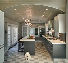 Custom Kitchen Design - Contemporary kosher black and white cabinetry with opaque glass doors