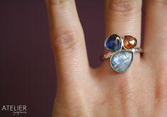 Sterling silver ring, kyanite, mystic orange quartz. Handcrafted & designed in Mexico. www.facebook.com/ateliergabymarcos