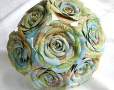 VINTAGE ATLAS MAP Centerpiece /// Book Roses /// by HiButterfly