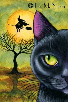 Black Cat and Riding Witch Original Halloween by CharonsPoppets, $40.00 one of my favs!