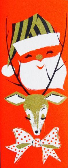 Mod Santa. Vintage Christmas Card. Retro Christmas Card.