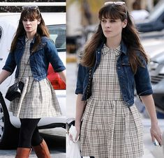 Zooey Deschanel's Check print dress with collar and denim jacket in Los Angeles.  Outfit details: http://wwzdw.com/z/4159/