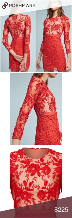 """Anthropologie Serena Embroidered Dress From ready-to-wear to bridal, each sophisticated collection from Monique Lhuillier is even more exquisite than the last.❤️ Get ready to turn heads in a striking red sheath dress with delicate lace detail. Polyester; lace overlay Sheath silhouette Embroidered lace detail Back zip Dry clean Imported Dimensions Falls 36"""" from shoulder. Tag Says 16 but would fit 12/XL IMO. Bust 22"""" waist 18"""" hip 24"""". All measurements are approximate Anthropologie Dresses"""