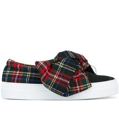 """Joshua Sanders """"Tartan Bow"""" Slip On ($310) ❤ liked on Polyvore featuring shoes, navy, tartan shoes, navy blue shoes, navy blue slip on shoes, slip on shoes and navy slip on shoes"""