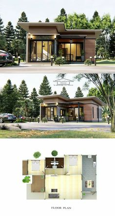 Modern one-storey house design with two bedrooms 2 Bedroom House Design, Modern Bungalow House Design, Modern Bungalow Exterior, House Roof Design, Small House Exteriors, Modern House Plans, My House Plans, Modern Small House Design, Simple House Design