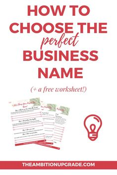 If you're not sure how to start naming your biz, click through to read a step by step method of how to choose the perfect business name, plus a free three page workbook! | http://TheAmbitionUpgrade.com