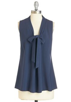 Happiest of Hours Top in Navy - Blue, Solid, Work, Casual, Nautical, Sleeveless, V Neck, Blue, Sleeveless, Tie Neck, Vintage Inspired, 40s, Variation, Mid-length