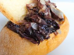 Chickpeas cream and fried Radicchio in Bread cup