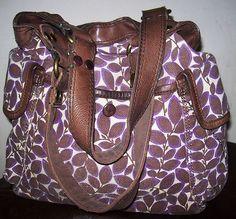 Gorgeous Lucky Brand Large Leather & Canvas Tote Shopper Handbag Purse