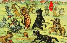 The British artist Louis Wain was a highly successful illustrator whose reputation was made on his singular and gently humorous pictures of . Soccer Art, Soccer Poster, Play Soccer, Statues, Trippy Cat, Louis Wain Cats, Silhouette, Vintage Cat, Vintage Black