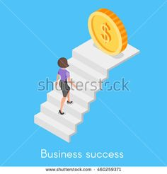 Isometric 3d vector concept of business woman climbing the career ladder.