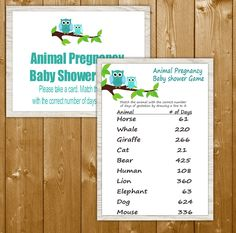Blue Owl Animal Pregnancy Days Game with Sign, Boy Owl Baby Shower Games, Printable Instant Download