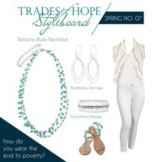 Delicate Blues Necklace Two delightful strands, one accented with dropped beads. This necklace creates a delicate look by being 16-inches in circumference, but it also is versatile by having a 5-inch extension.  www.mytradesofhope.com/debbiedavison