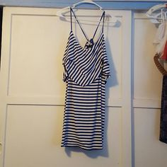 Striped dress Navy blue and white, layered on top, cinches in back josh brody Dresses Midi