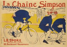 Henri de Toulouse-Lautrec publicity poster from 1890s, Constant Huret riding with a Simpson chain behind the Gladiator tandem pacer at the Velodrome de la Seine.
