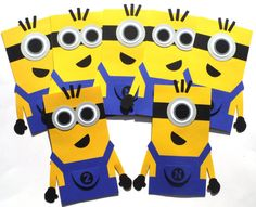12 Yellow and Blue Minion Themed Favor Loot Goody Bags Birthday Party Decoration Customized With Initial and Age Number