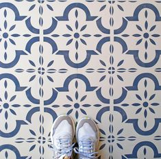 Medina Tile Stencil for Floors,Walls, Furniture and Fabric. Moroccan stencil. DIY project .Small, Medium, Large Stencil Fabric, Stencil Patterns, Stencil Diy, Stencil Painting, Tile Patterns, Stencils, Painted Floorboards, Painted Concrete Floors, Stencil Concrete