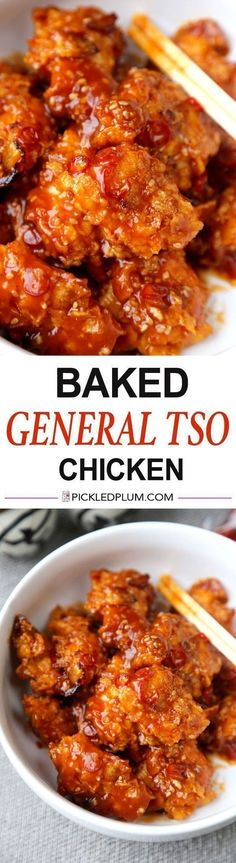 Baked General Tso Chicken Recipe - Crushed Cornflakes imitate fried chicken so well you'll forget you are eating healthy! Recipe, Chinese, chicken, baked, healthier, main, dinner | www.pickledplum.c...
