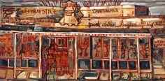 Philadelphia-Artist.com. Tony Luke's Cheesesteak. 24 x 48 inches. Oil on Canvas. Erin McGee Ferrell. Painted on location Philadelphia