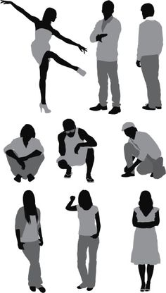 Vectores libres de derechos: Casual people in different poses