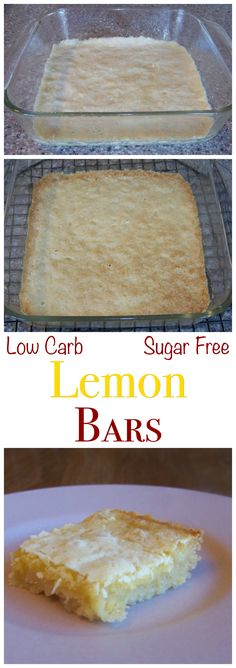 Luscious sugar free low carb lemon square bars that are very close to the real thing. Can be made gluten free with a mix of coconut flour and almond meal.