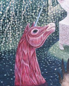 Meat meat meat 🎠 #shelestart #popsurrealism #contemporaryart #lowbrowart #lowbrow #painting #unicorn