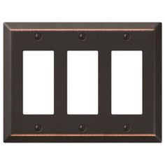 Amerelle Century 3-Gang Aged Bronze Decorator Rocker Steel Wall Plate