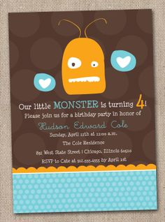Monster Birthday Party Invitations Kids Printable File Orange Blue and Brown.