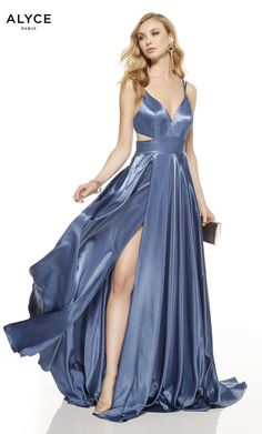 Shop Alyce long formal dresses with cut outs at Simply Dresses. V-neck prom dresses, open-back designer dresses for prom, and long formal dresses with cut outs and with side slits. Orange Dress, Purple Dress, Blue Dresses, Prom Dresses, Formal Dresses, Pretty Dresses, Wedding Dresses, Mini Party, Shiny Fabric