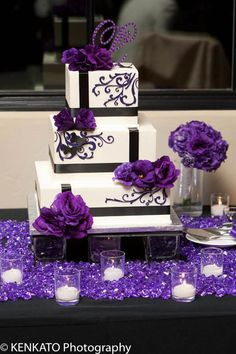 2019 Brides Favorite Purple Wedding Colors---elegant purple floral adorned wedding cake on the sparkling cloth, candle glass Purple Cakes, Purple Wedding Cakes, Wedding Colors, Purple Black Wedding, Cake Wedding, Pretty Cakes, Beautiful Cakes, Our Wedding, Dream Wedding