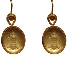 Citrine bee reverse intaglio with hessonite garnet.  go to http://www.whitneyabramsjewelry.com