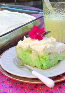 Lime Poke Cake. Vanilla pudding seeps into the holes of the cake and a whipped cream topping finishes it off.