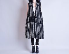 persephone vintage - graphic tribal print duster vest coat, sold out