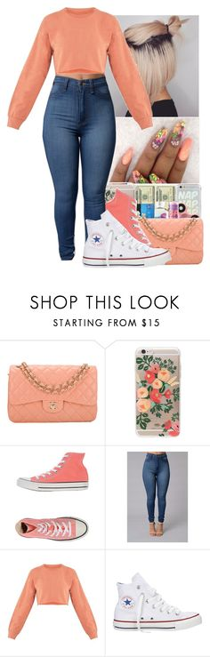 """""""✨Peach ✨"""" by jasmine1164 ❤ liked on Polyvore featuring Chanel, Rifle Paper Co and Converse"""