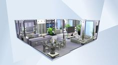 Nombre: White Dream Living/Kitche.  ¡Mira esta habitación en la galería de Los Sims 4! - Küche mit Essbereich und Wohnzimmer aus White Dream. Please hashtag me if you use one picture in an upload #Althanasia  Please Do Not Reupload the paintings thank you. #stopstealing#house#modern#cute#room#ivingroom#kitchen#diningroom