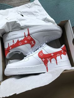 red shoes sneakers Nike Air Force 1 Custom Red LV Drip Size New With Box Air Force Shoes, Nike Shoes Air Force, Red Nike Shoes, Air Force 1 High, Basket Style, Sneakers Fashion, Sneakers Nike, Fashion Outfits, Cute Nikes