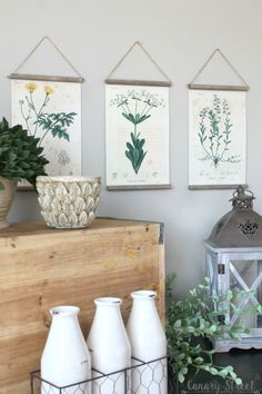Easy DIY botanical print wall hanging using free botanical printables. http://canarystreetcrafts.com/
