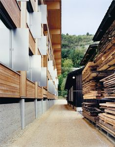 Meili & Peter - School of timber engineering, Biel Photos © Gerog Aerni. Wood Structure, Building Structure, Art And Architecture, Architecture Details, Wooden Buildings, School Of Engineering, Gable Roof, House Of Cards, Wood Construction