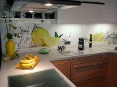 tapeten in der küche ideen küchenrückwand glas fliesenspiegel ... - Küchenspiegel Mit Fototapete