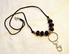 Suede lanyard, beaded lanyard, Lanyard key ring ID badge holder, Lanyard key…