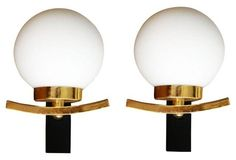 French Brass & Glass Sconces, Pair