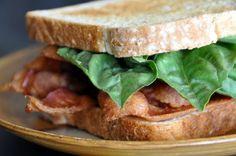 Bacon & Basil.  My favorite sandwich in the whole world. #bacon #sandwich