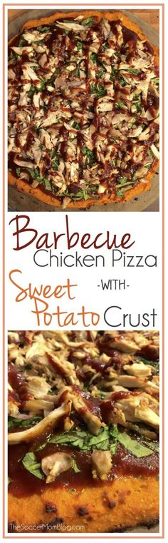 Barbecue Chicken Pizza with Sweet potato crust is gluten free, dairy free and packed with protein and veggies.