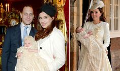 Lord Frederick Windsor and wife Sophie christen their daughters Maud at St. James Palace. Maud wears the same christening robe as Prince George of Cambridge 12/16/2013