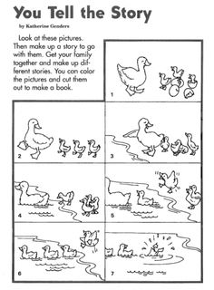 This wordless book lets children get creative in making up the story based on the pictures. Children can color and cut out the pictures to make a book. Story Sequencing Pictures, Story Sequencing Worksheets, Sequencing Activities, Writing Worksheets, Kindergarten Worksheets, Worksheets For Kids, Sequencing Events, Kindergarten Readiness, Kindergarten Classroom