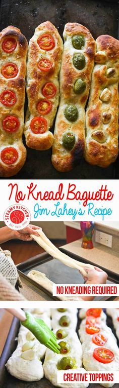 Jim Lahey's Famous No-Knead Baguette Recipe embedded with whole garlic cloves, cherry tomato halves and whole olives. With step by step photos from Steamy Kitchen ~ http://steamykitchen.com
