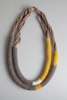 collana in lana e cotone trasformabile  necklace wool cotton                                                                                                                                                                                 More