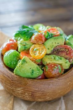 Healthy and so flavorful, this Tomato Avocado Salad makes a great addition to your dinner or lunch. This is one of the most loved recipes in my family! http://cooktoria.com/recipe/tomato-avocado-salad/